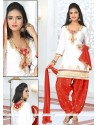 Elegant Zari Work Cotton Off White Designer Patiala Suit