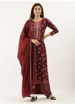 Maroon Designer Heavy Party Wear Chinon Palazzo Salwar Suit