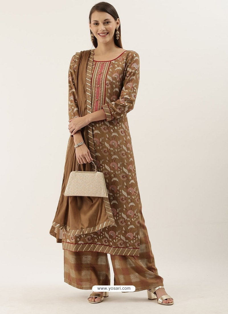 Camel Designer Heavy Party Wear Chinon Palazzo Salwar Suit