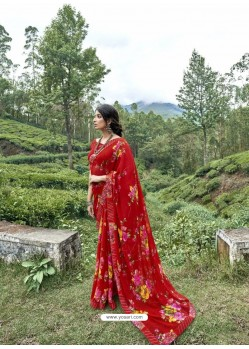 Red Latest Casual Wear Designer Printed Georgette Sari
