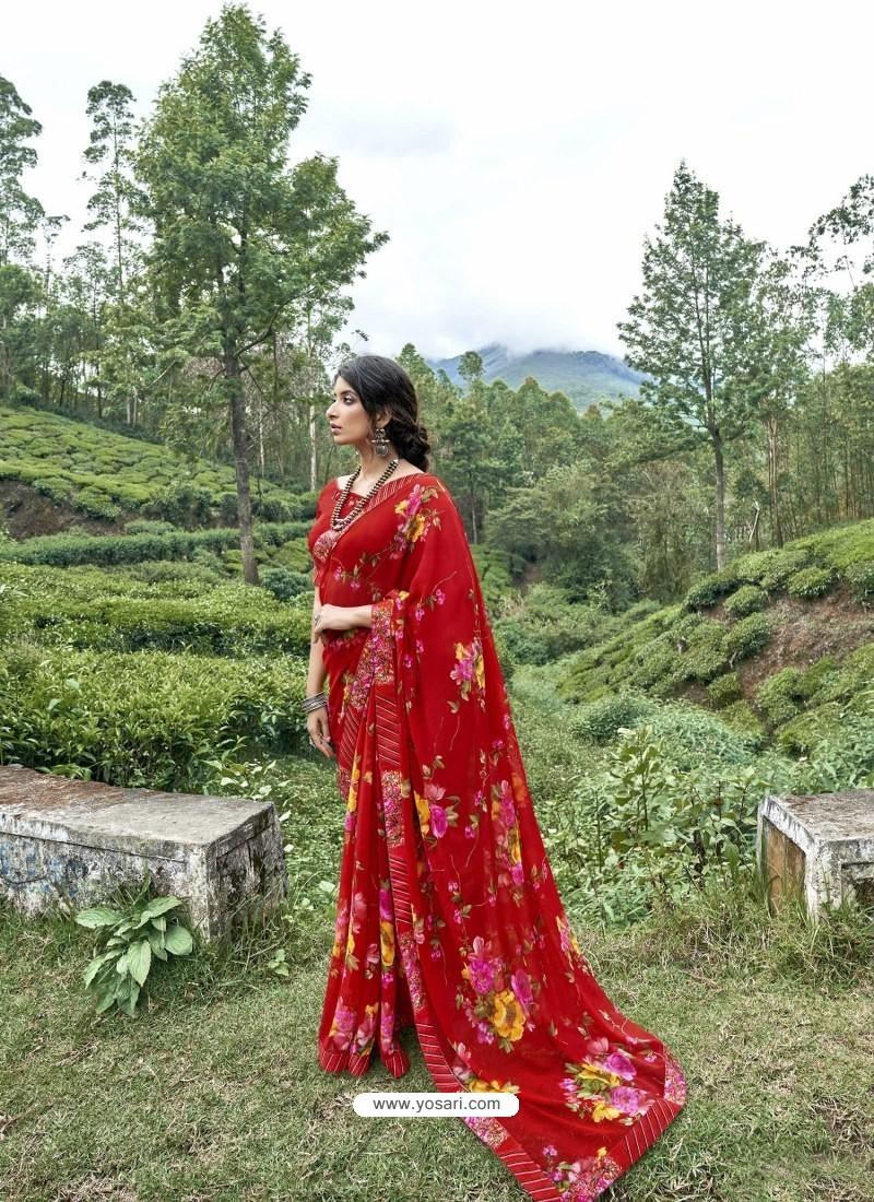 Red Latest Casual Wear Designer Printed Georgette Sari