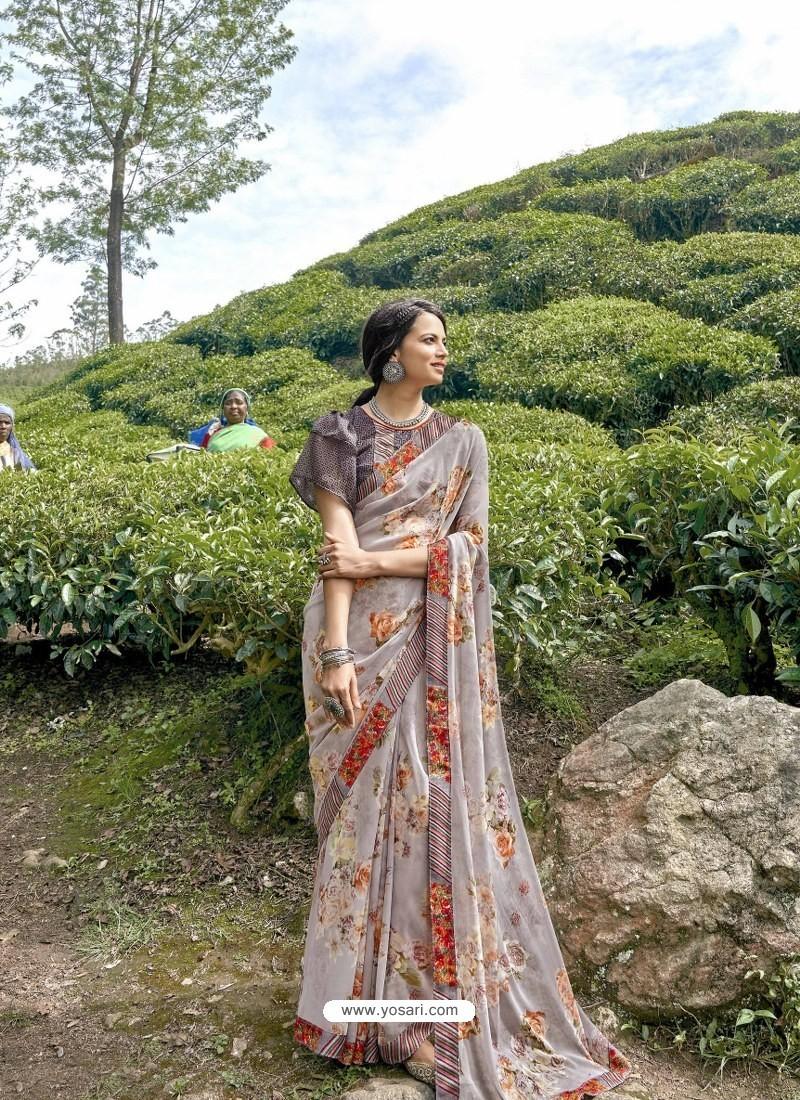 Light Grey Latest Casual Wear Designer Printed Georgette Sari
