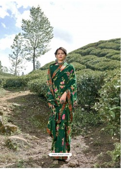 Dark Green Latest Casual Wear Designer Printed Georgette Sari