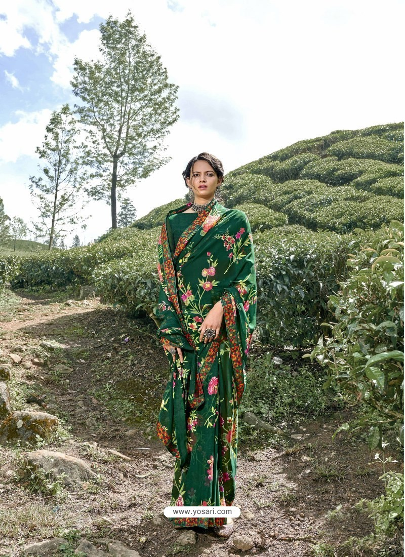 Dark Green Latest Casual Wear Designer Printed Georgette Sari
