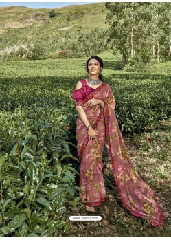 Old Rose Latest Casual Wear Designer Printed Georgette Sari