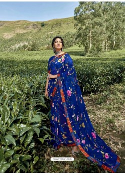 Royal Blue Latest Casual Wear Designer Printed Georgette Sari