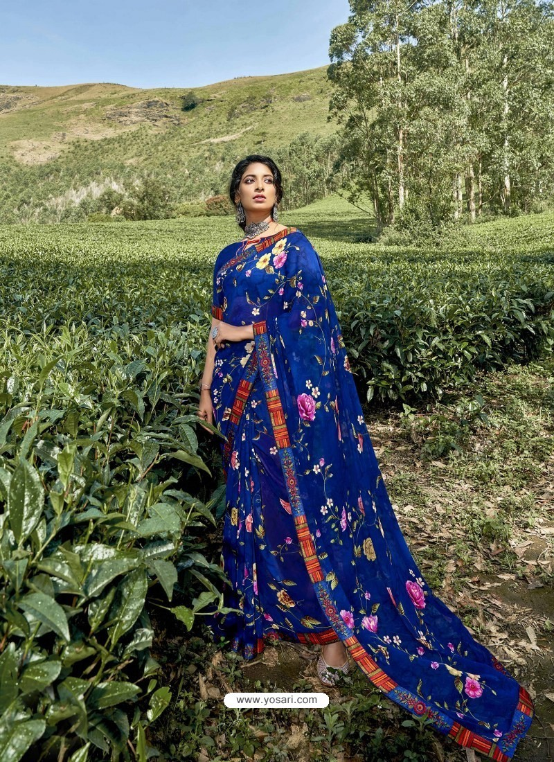 Royal Blue Latest Casual Wear Designer Printed Georgette Sari