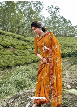 Mustard Latest Casual Wear Designer Printed Georgette Sari