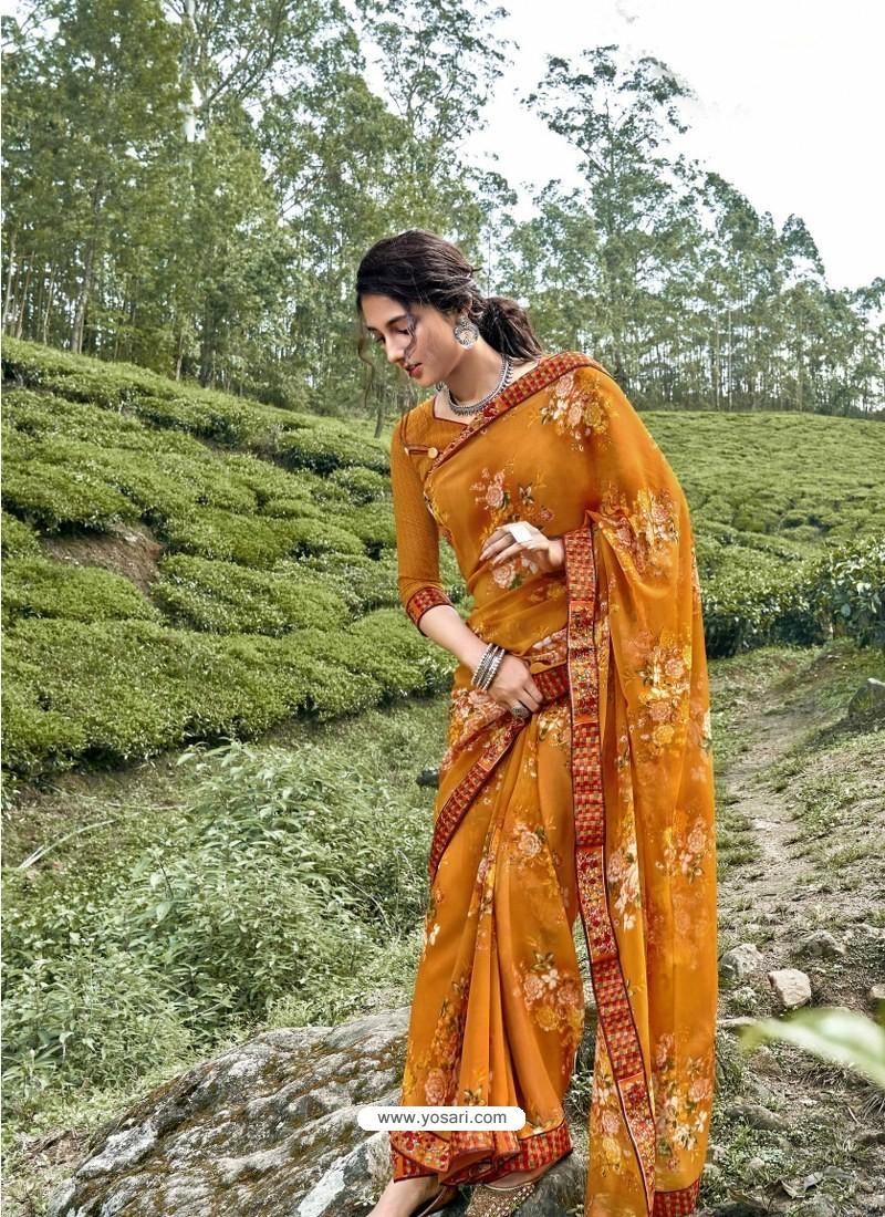 Mustard Latest Casual Wear Designer Printed Georgette Sari