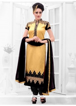 Delectable Gold Zari Work Designer Straight Suit