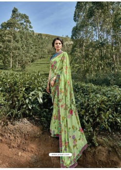 Green Latest Casual Wear Designer Printed Georgette Sari