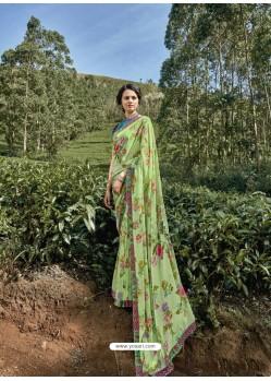 Green Latest Casual Wear Designer Printed Georgette Sari