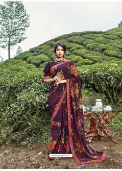 Purple Latest Casual Wear Designer Printed Georgette Sari