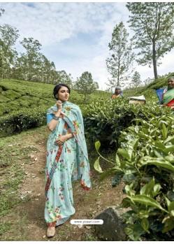 Sky Blue Latest Casual Wear Designer Printed Georgette Sari