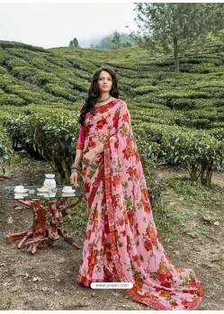 Pink Latest Casual Wear Designer Printed Georgette Sari