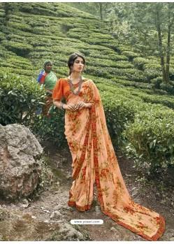 Light Orange Latest Casual Wear Designer Printed Georgette Sari