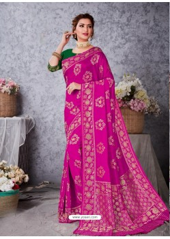Magenta Designer Party Wear Art Soft Silk Sari
