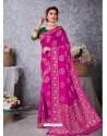Magenta Designer Party Wear Art Soft Silk Sari