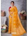 Yellow Designer Party Wear Art Soft Silk Sari