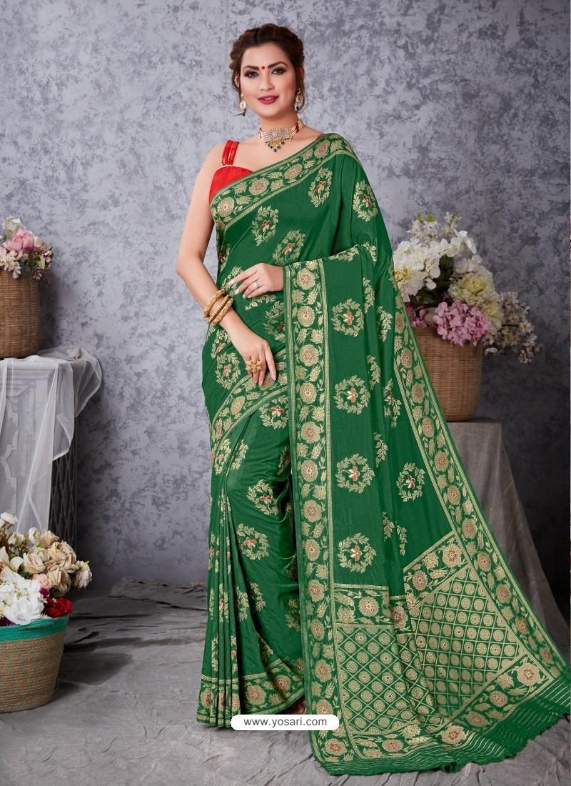Forest Green Designer Party Wear Art Soft Silk Sari