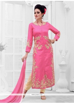 Compelling Cotton Satin Designer Straight Suit