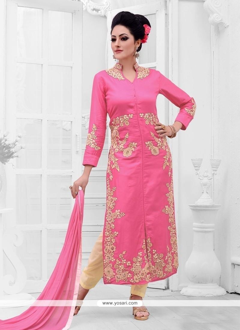Compelling Cotton Satin Designer Straight Suit
