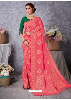 Light Red Designer Party Wear Art Soft Silk Sari
