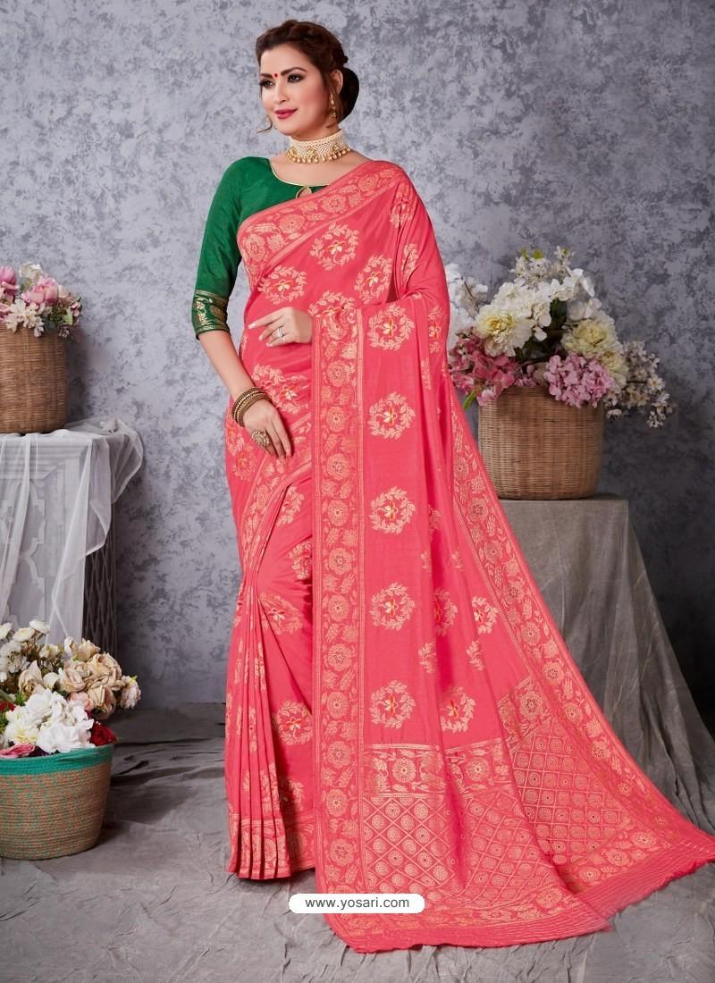 Light Red Designer Party Wear Art Soft Silk Sari
