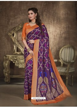 Purple Designer Party Wear Art Soft Silk Sari