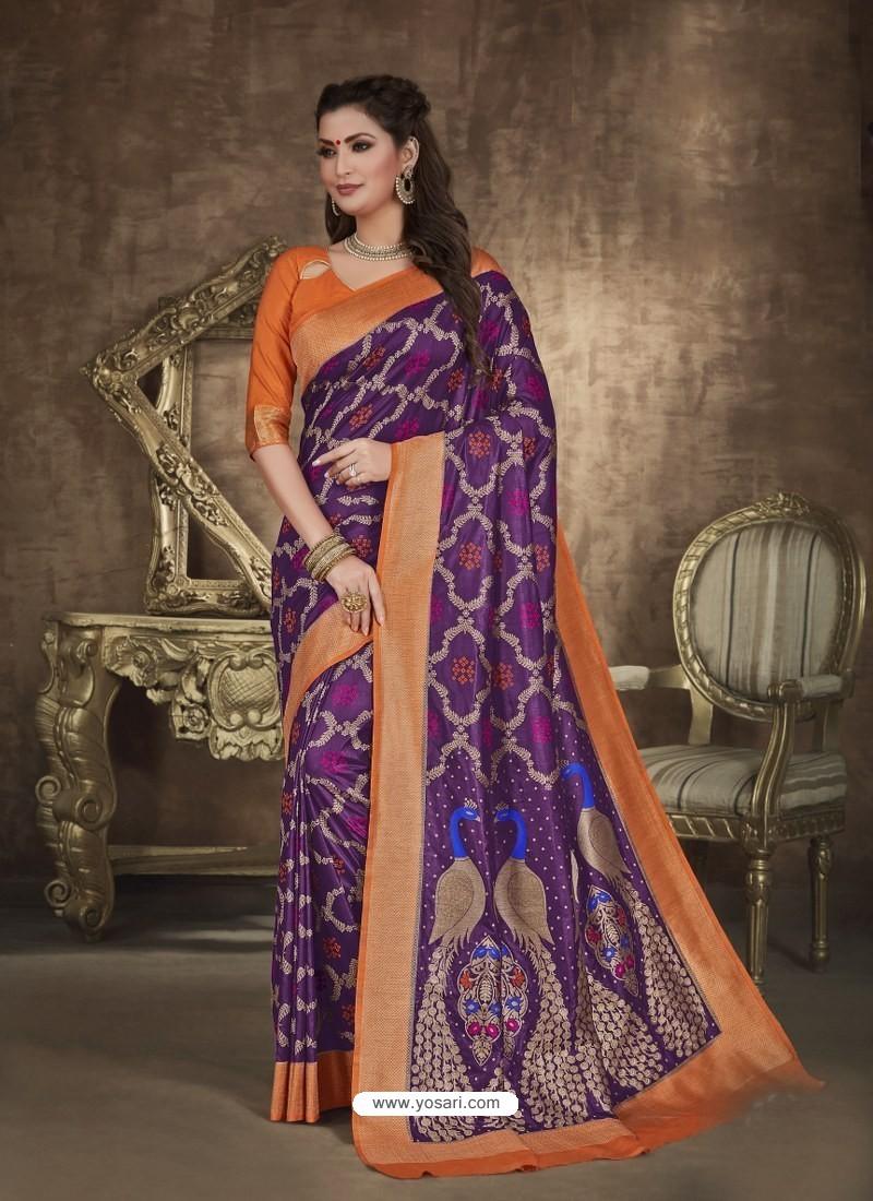 Purple Designer Party Wear Art Soft Silk Sari
