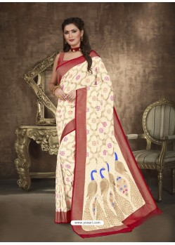 Off White Designer Party Wear Art Soft Silk Sari