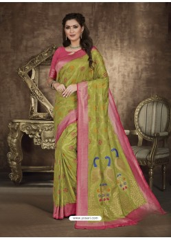 Green Designer Party Wear Art Soft Silk Sari