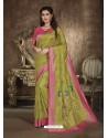 Green Designer Party Wear Art Soft Silk Sari