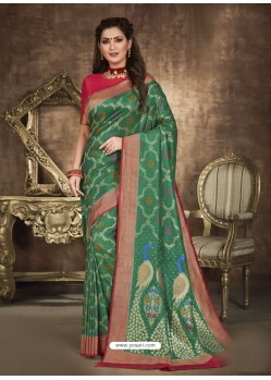 Dark Green Designer Party Wear Art Soft Silk Sari