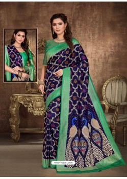 Navy Blue Designer Party Wear Art Soft Silk Sari