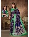 Navy Blue Designer Party Wear Art Soft Silk Sari