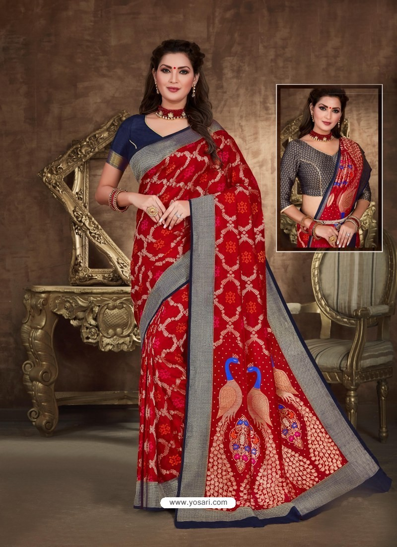 Red Designer Party Wear Art Soft Silk Sari