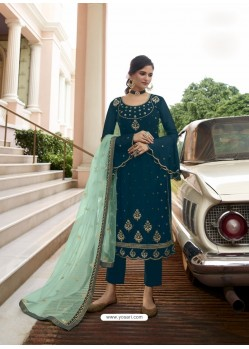 Teal Blue Scintillating Designer Straight Salwar Suit