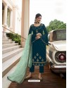 Teal Blue Scintillating Designer Straight Salwar Suit