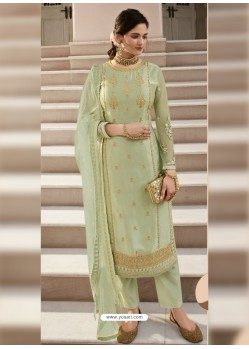 Pista Green Scintillating Designer Straight Salwar Suit