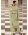 Pista Green Scintillating Designer Straight Salwar Suit