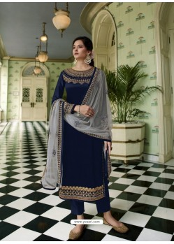 Navy Blue Scintillating Designer Straight Salwar Suit