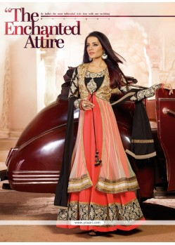 Celina Jaitly Black And Peach Georgette Anarkali Suit