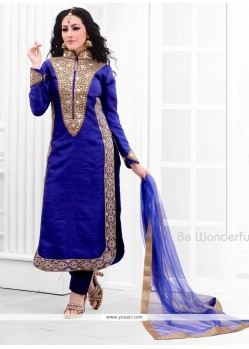 Exciting Resham Work Blue Raw Silk Designer Salwar Suit
