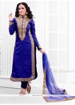 Exciting Resham Work Blue Raw Silk Designer Salwar Suit