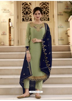 Green Scintillating Designer Straight Salwar Suit