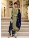 Green Scintillating Designer Straight Salwar Suit
