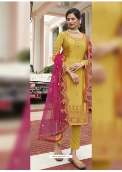 Yellow Scintillating Designer Straight Salwar Suit