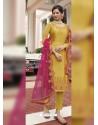 Yellow Scintillating Designer Straight Salwar Suit