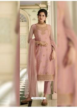 Baby Pink Scintillating Designer Straight Salwar Suit
